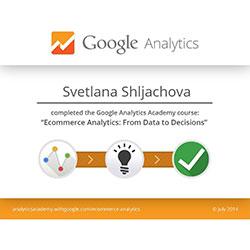 Svetlana Shljachova: Google Analytics Ecommerce Certificate