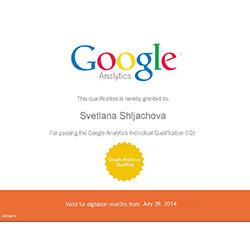 Svetlana Shljachova: Google Analytics Individual Qualification Certificate